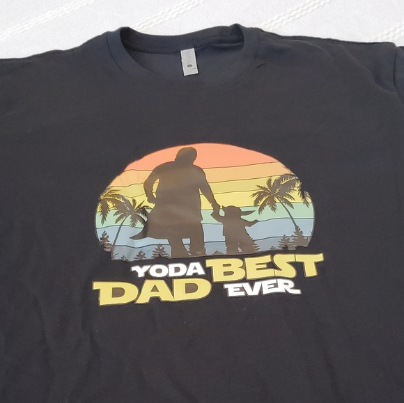 Yoda Best Dad Ever Black Short Sleeve Shirt NEW L